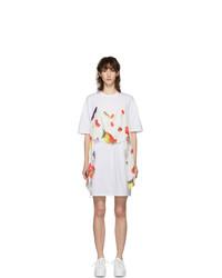 MSGM White Fruit Scarf T Shirt Dress