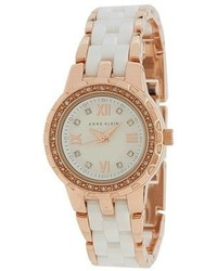 Anne Klein 10 9456wtrg Swarovski Crystal Accented Rose Gold Tone And White Ceramic Bracelet Watch