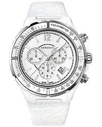 Versace 42mm Dv One Cruise Ceramic Chronograph Watch Whitesilver