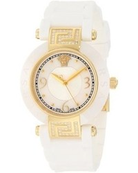 92qcp11d497 s001 reve 14k yellow gold ion plated watch with white rubber band medium 61646