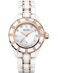 Bulova Accutron Watch Swiss Mirador White Ceramic And Rose Gold Tone Stainless Steel Bracelet 65r140
