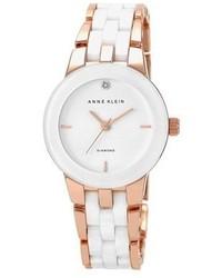 Anne Klein Diamond Marker Ceramic Bracelet Watch 30mm