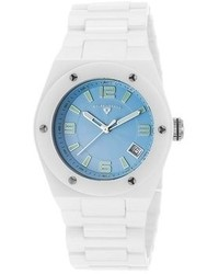 Swiss Legend Ceramic Throttle Lady 3h White Ceramic Light Blue Textured Dial