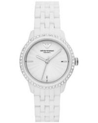 Emporio Armani Crystal Bezel Ceramic Bracelet Watch 33mm