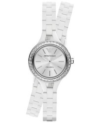 Emporio Armani Crystal Bezel Ceramic Wrap Bracelet Watch 26mm