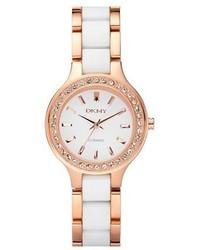 DKNY Chambers Ceramic Rose Gold Crystal Bezel Watch 30mm