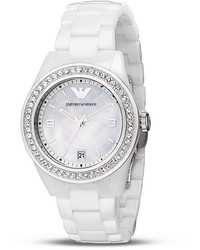 Emporio Armani Mother Of Pearl And Ceramic Bracelet Watch 39mm