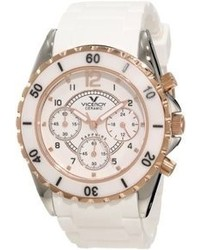 Rosegold Viceroy 47562 95 White Ceramic Rose Gold Rubber Watch