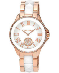 Vince Camuto Watch White Ceramic Pyramid Stud And Rose Gold Tone Stainless Steel Bracelet 38mm Vc 5046wtrg