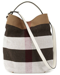 Burberry Ashby Medium Mega Check Bucket Bag White