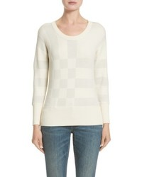 Burberry Check Knit Wool Blend Sweater