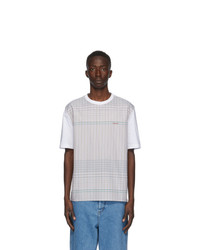 Lanvin White And Brown Checkered T Shirt