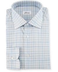 Brioni Check Dress Shirt Whitebluegray