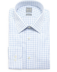 Ike Behar Check Windowpane Woven Dress Shirt Whiteblue