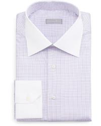 Stefano Ricci Contrast Collar Check Dress Shirt Lavender
