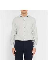 Drakes Drakes White Windowpane Checked Cotton Poplin Shirt