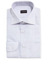 Grid check dress shirt whitelight bluebrown medium 3678490