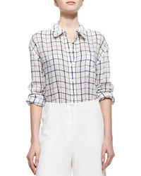Elizabeth and James Oversize Windowpane Check Voile Blouse