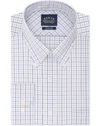 Eagle Slim Fit Non Iron White And Blue Multi Check Dress Shirt