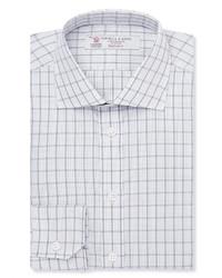 Turnbull & Asser White Slim Fit Checked Cotton Shirt