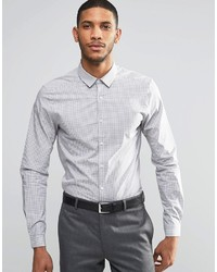 Asos Brand Skinny Shirt In Gray Check With Long Sleeves