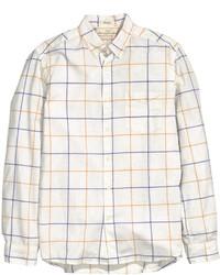 H&M Checked Cotton Shirt Dark Blue
