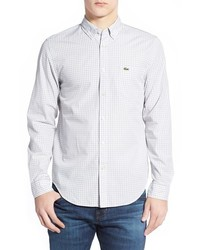 Lacoste Regular Fit Long Sleeve Gingham Poplin Woven Shirt