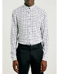 Topman White Drapey Window Check Long Sleeve Dress Shirt