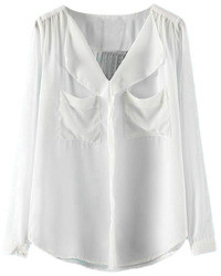 Romwe Asymmetric Pocketed Pleated Sheer White Blouse