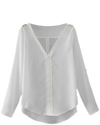 Romwe Asymmtric V Neck Rolled Up Sheer White Blouse