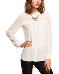 Express Long Sleeve Pieced Chiffon Blouse