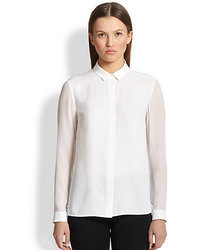 Burberry London Sheer Sleeve Silk Blouse