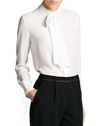 Mango Outlet Bow Textured Chiffon Blouse