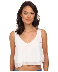 White Chiffon Cropped Top