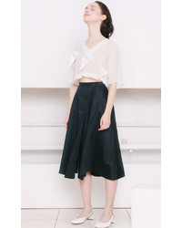 Ksenia Schnaider Flagged Chiffon Crop Top