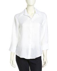 Neiman Marcus Linen Button Down Blouse White