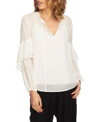 1 STATE Sheer Tie Neck Blouse