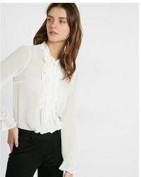 Tie neck sheer chiffon blouse medium 3665565