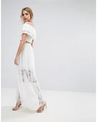 Boohoo Lace Paneled Chiffon Maxi Skirt