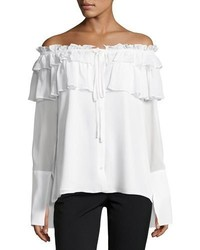 Opening Ceremony Crinkle Off The Shoulder Chiffon Layered Top