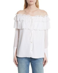 Opening Ceremony Off The Shoulder Silk Chiffon Top