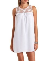 Charlotte Russe Mesh Yoke Beaded Chiffon Shift Dress