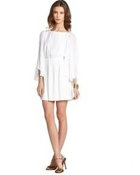 Alice + Olivia White Silk Florence Pleated Drape Sleeve Dress
