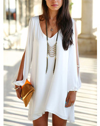 Choies White Chiffon Shift Dress With Slip Sleeves