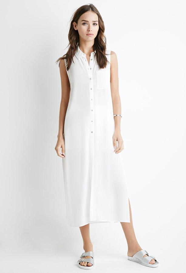 ec7f42db19a1 Forever 21 High Slit Shirt Dress, $19 | Forever 21 | Lookastic.com