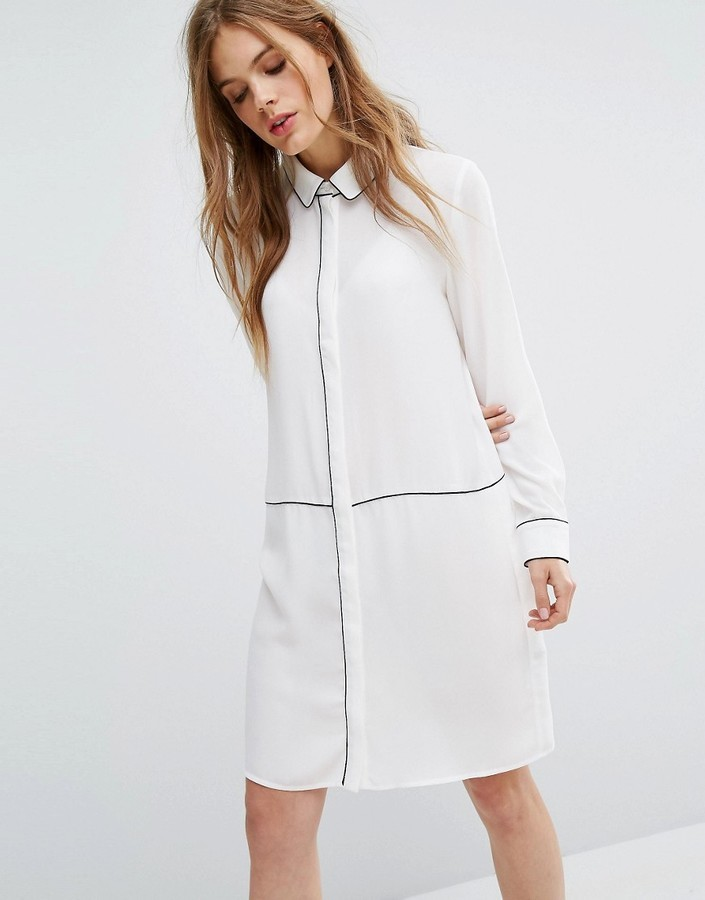Selected Piping Detail Shirt Dress