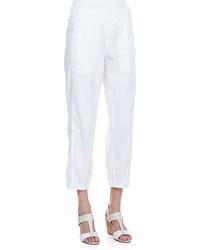 Eileen Fisher Cargo Linen Blend Ankle Pants White Petite