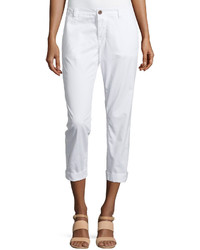 J Brand Jeans Inez Slim Fit Cropped Chino Pants White
