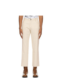 Sean Suen Off White Raw Denim Trousers