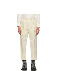Jil Sander Off White Wool Flannel Cropped Trousers